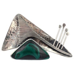 Ed Wiener Sterling Silver and Malachite Midcentury Modernist Brooch / Pendant