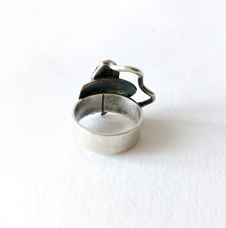 Women's Ed Wiener Sterling Silver Bloodstone American Modernist Studio Ring For Sale