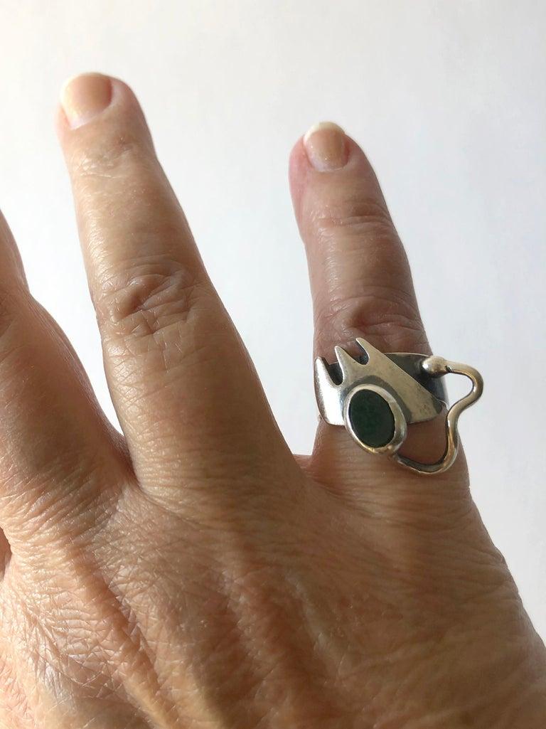 Ed Wiener Sterling Silver Bloodstone American Modernist Studio Ring For Sale 1