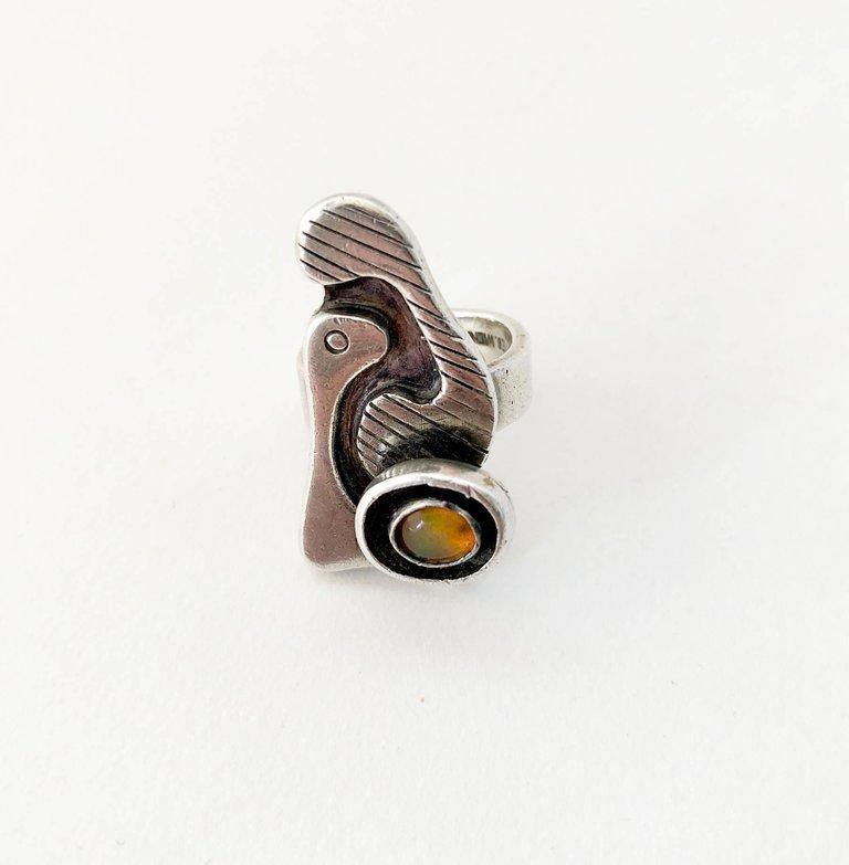 Ed Wiener Sterling Silver Opal Bi Level American Modernist Ring For Sale 1