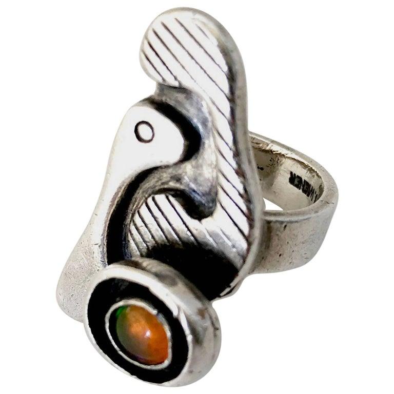 Ed Wiener Sterling Silver Opal Bi Level American Modernist Ring For Sale