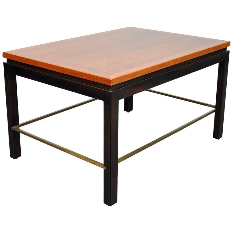 Ed Wormley for Dunbar Mahogany and Brass Side Table For Sale