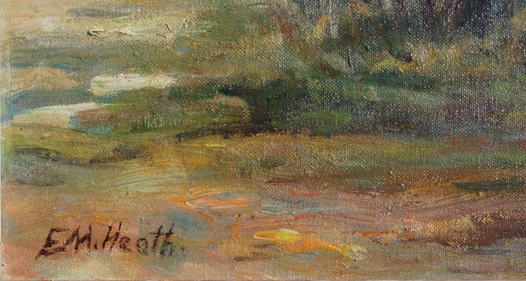 Significant oil painting of Paraiso Hot Springs in the Santa Lucia foothills near Soledad, California by Edda Maxwell Heath (American, 1874 - 1972). Signed lower left corner
