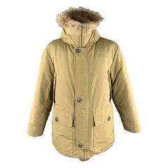 EDDIE BAUER Size L Khaki Solid Nylon Zip & Buttons Jacket
