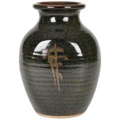 Eddie Hopkins Winchcombe Tenmoku Glazed Studio Pottery Vase