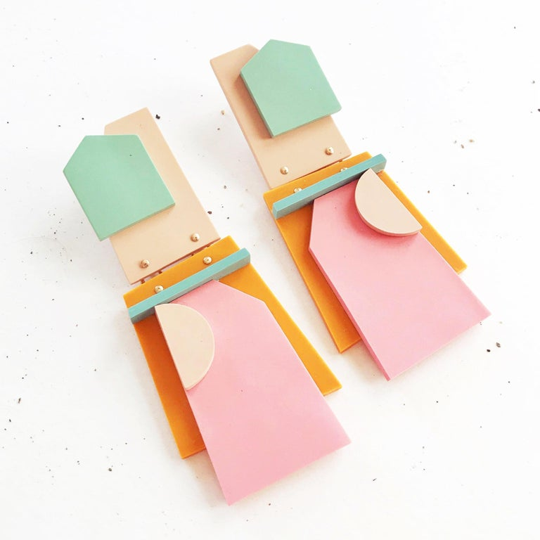 Geo-minimalist statement earrings in sage, flesh, pink and mustard. Polymer clay, 18k gold-fill, and titanium posts.