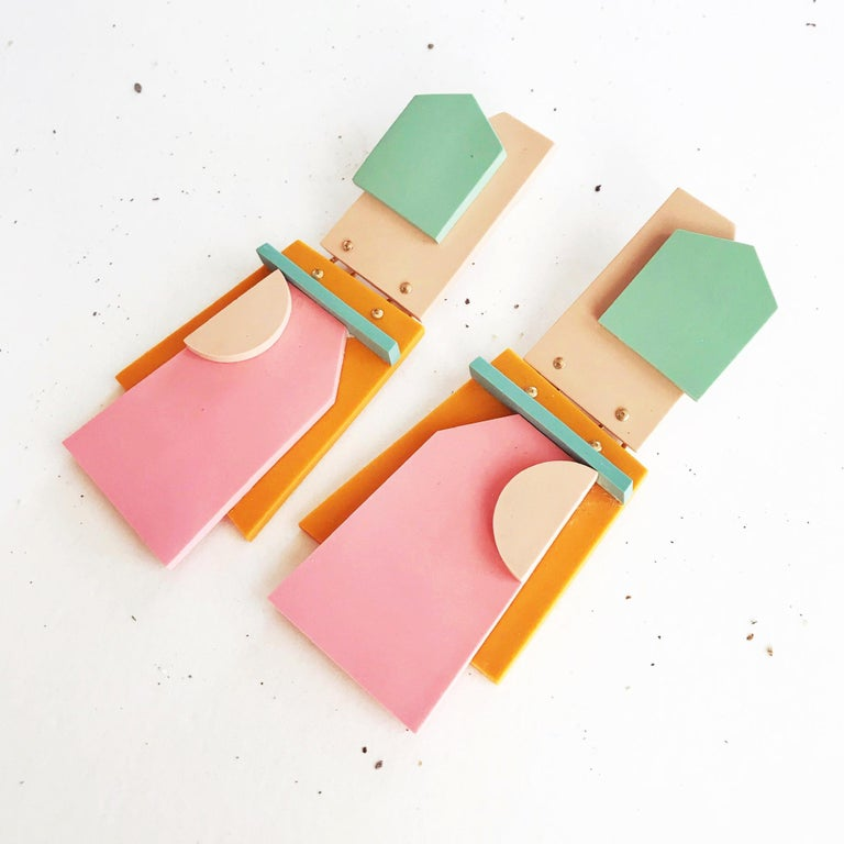 Contemporary Nina Zabal Eddie Statement Earrings in Sage, Pink, Flesh and Mustard For Sale