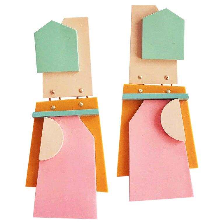 Nina Zabal Eddie Statement Earrings in Sage, Pink, Flesh and Mustard For Sale