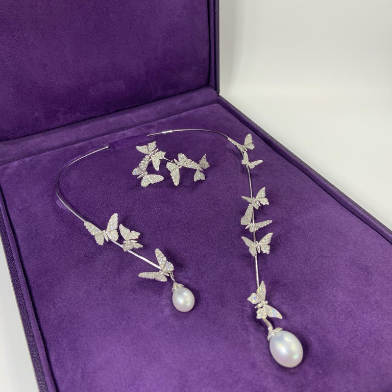 Édéenne Butterfly Set of Diamonds and Pearl 18 Karat Gold Necklace and Ring For Sale 6