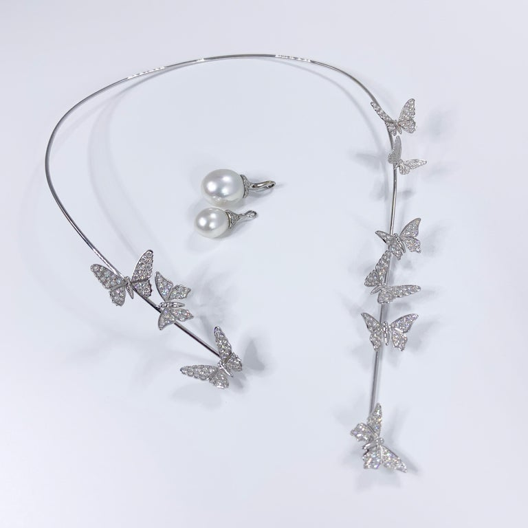 Édéenne Butterfly Set of Diamonds and Pearl 18 Karat Gold Necklace and Ring For Sale 4
