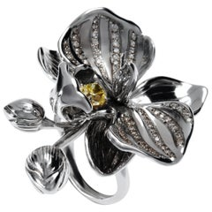 Fancy Yellow Diamond 18 K Gold exuberant Orchid Flower Cocktail Ring by Édéenne