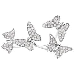 Edéenne Four Butterfly Diamonds and 18K White Gold Two Finger Ring