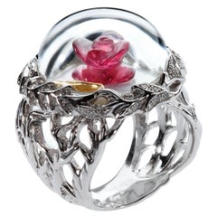 """Édéenne Rock Crystal, Diamonds and 18K White Gold """"Beauty and the Beast"""" Ring"""