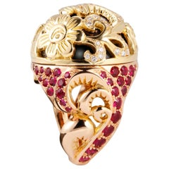 Édéenne Russian Style Dome 18 Karat Gold Cocktail Ring with Rubies and Diamond