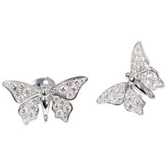 Édéenne Two Butterfly Diamonds and 18 Karat White Gold Earring