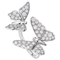 Édéenne Two Butterfly Diamonds and 18 Karat White Gold Ring