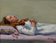 Ophelia, Oil/Linen,Painting, Figurative Painting , Cuban-American Artist,14 x 18