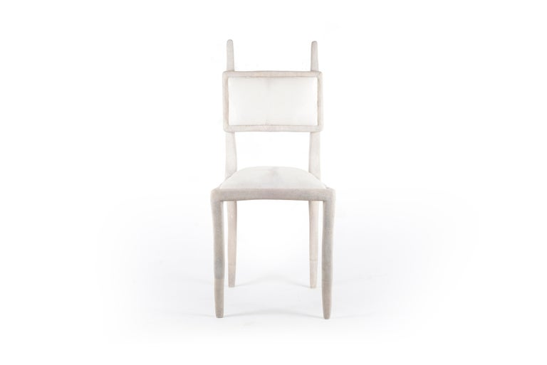 Art Deco Eden Chair in Cream Shagreen and Upholstered in Calf-Hair by R&Y Augousti For Sale
