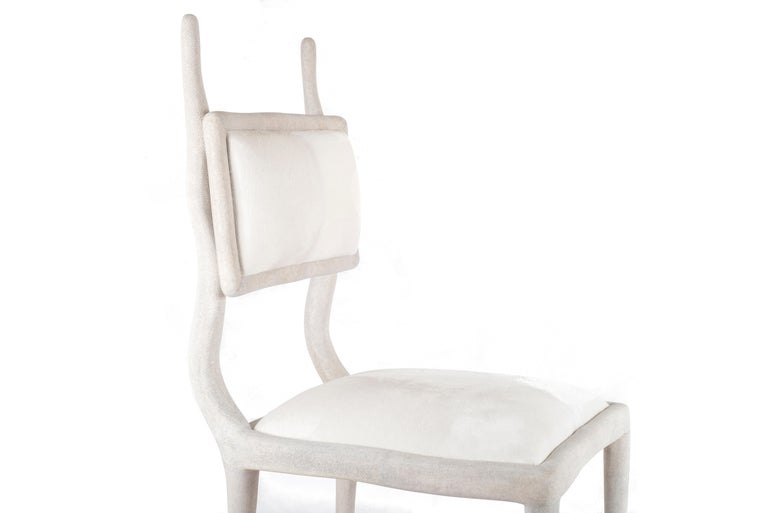 French Eden Chair in Cream Shagreen and Upholstered in Calf-Hair by R&Y Augousti For Sale