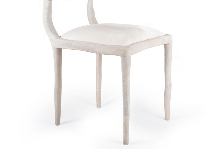 Hand-Crafted Eden Chair in Cream Shagreen and Upholstered in Calf-Hair by R&Y Augousti For Sale
