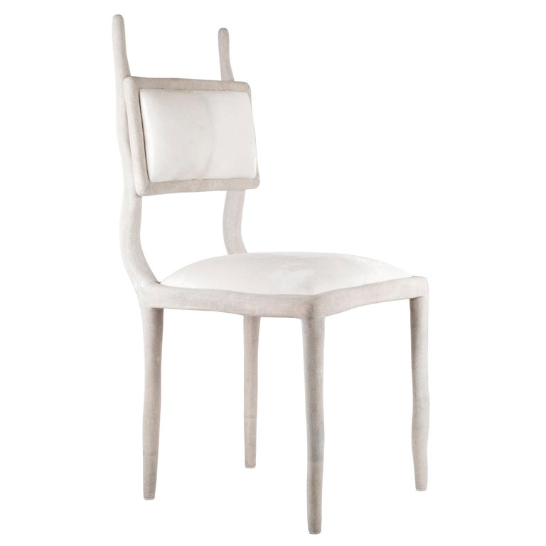 Eden Chair in Cream Shagreen and Upholstered in Calf-Hair by R&Y Augousti For Sale