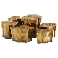 Eden Series Center Table in Brass, 'Set of 7'