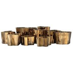 Eden Series Center Table in Brass, 'Set of 8'