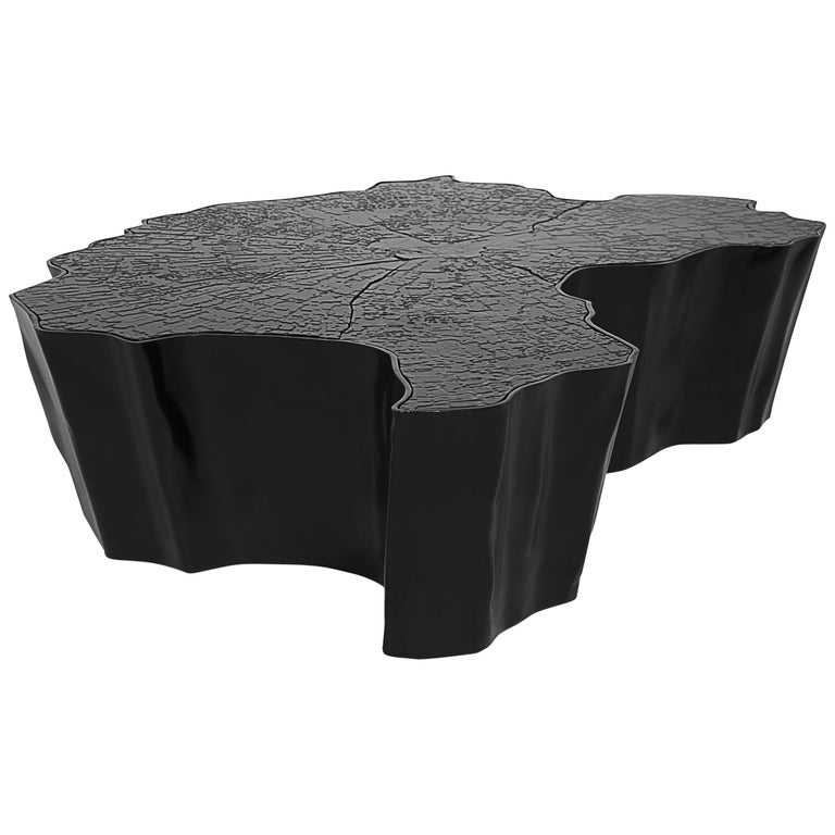 Eden Small Center Table in Black Lacquered Aluminum For Sale