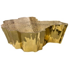 Eden Small Center Table in Polished Casted Brass