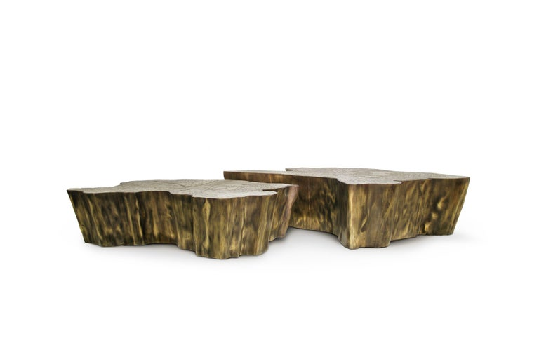 Modern Eden Small Center Table in Patina Casted Brass For Sale