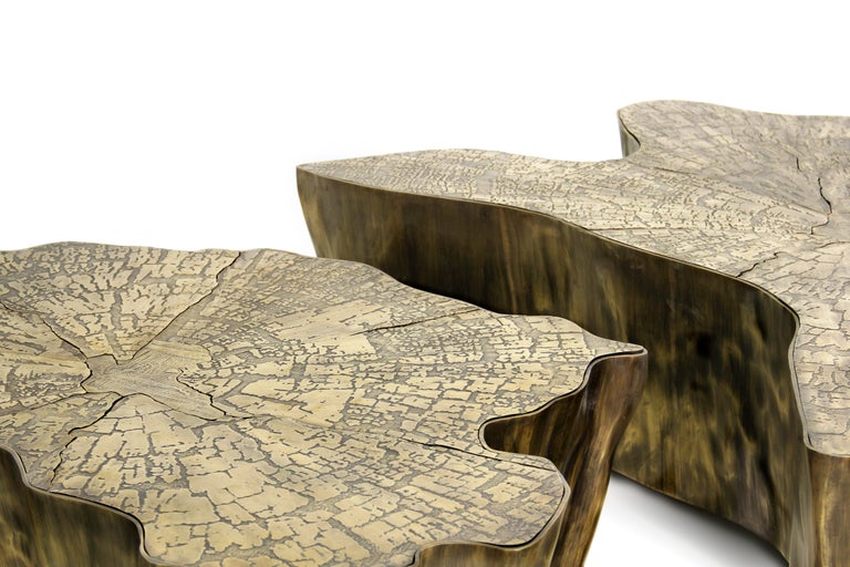 Portuguese Eden Small Center Table in Patina Casted Brass For Sale