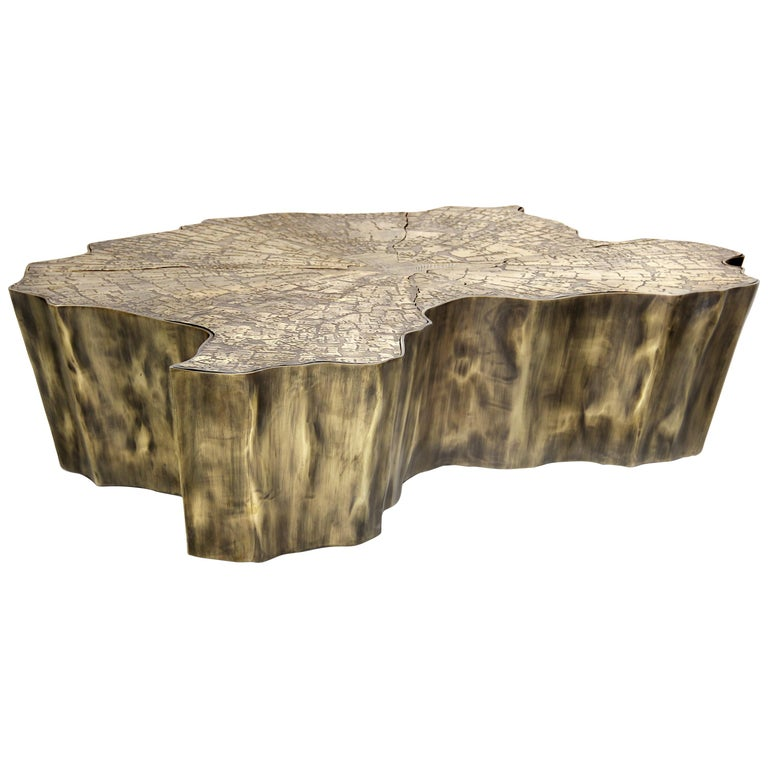 Eden Small Center Table in Patina Casted Brass For Sale