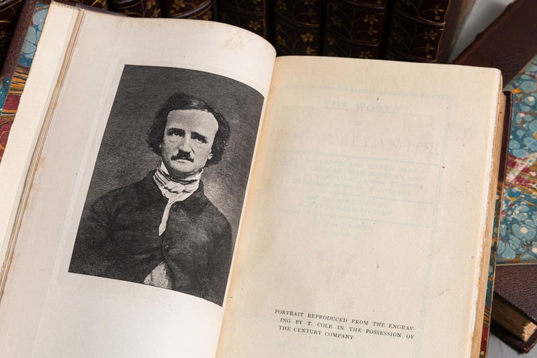 10 Volumes.Edgar Allan Poe. The Works. bound in 3/4 brown Morocco by Blackwell, marbled endpapers, raised bands, top edges gilt, raised bands, ornate gilt on spines, illustrated. Published: Chicago: Stone & Kimball 1895. Beautiful set.