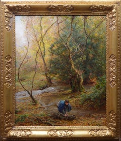 Falling Leaves - Large Edwardian Royal Academy Oil Painting 1906