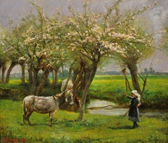 Girl with Donkey in the Maytime. Original Oil Painting 1909. English Landscape.