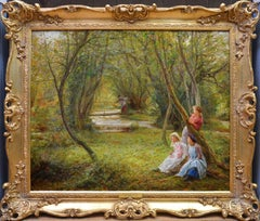 Girls in Autumn Woodland - 19th Century English Landscape Oil Painting