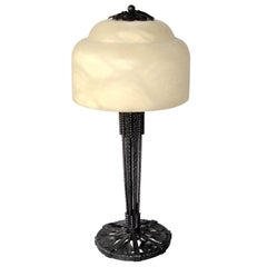 Edgar Brandt Art Deco Ginkgo Leaves Wrought Iron Table Lamp