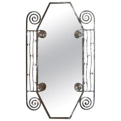 Edgar Brandt Inspired French Art Deco Steel Mirror