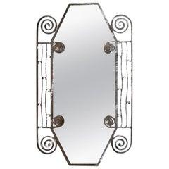 Edgar Brandt Inspired French Art Deco Steel Mirror