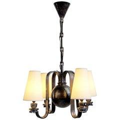 Edgar Brandt, Pendant Lamp in Four Lights, France, 1930