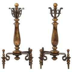 Edgar Brandt Style Iron, Brass Andirons