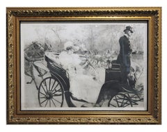 """La Promanade"" Black and White Print of a Women in a Carriage Edition"