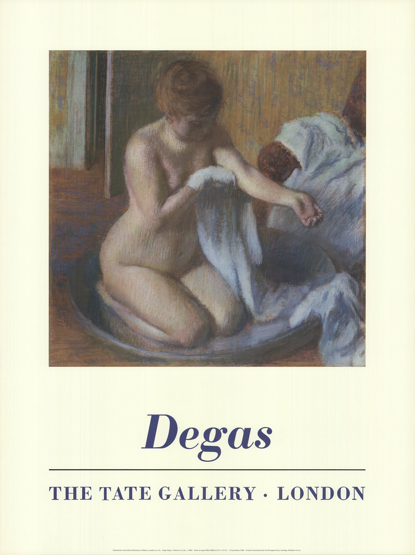 1990 Edgar Degas 'Woman in a Tub' Blue,Brown United Kingdom Offset Lithograph