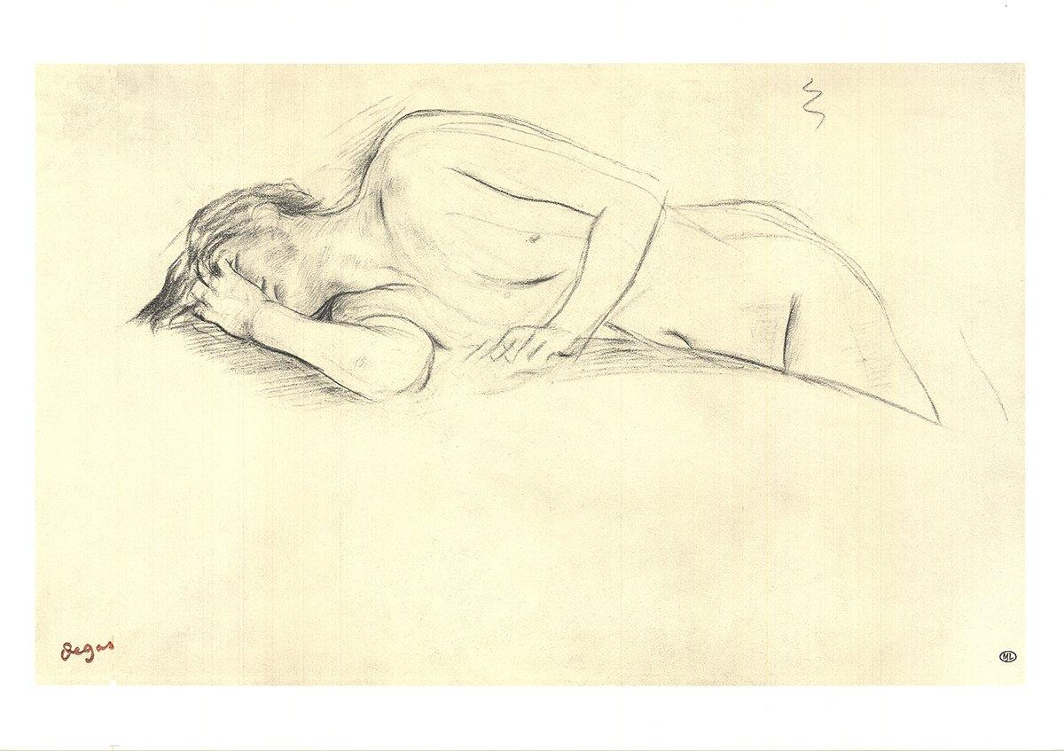 1997 Edgar Degas 'Naked Woman Lying on Her Stomach' Impressionism Neutral,Gray F