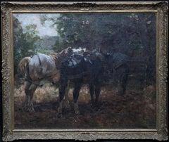 Horses at the Gate - British 1912 Post Impressionist equine art exh oil painting