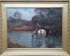 Watering the Horses - British 1914 Impressionist art landscape oil painting