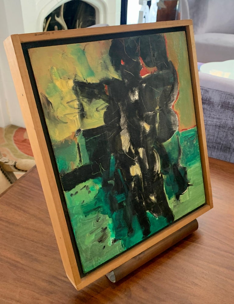 Mid-Century Modern Edgar Ewing Oil on Gesso Painting, 1957 For Sale