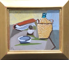 American Modern Still Life Painting, Table Top Still Life with Wine