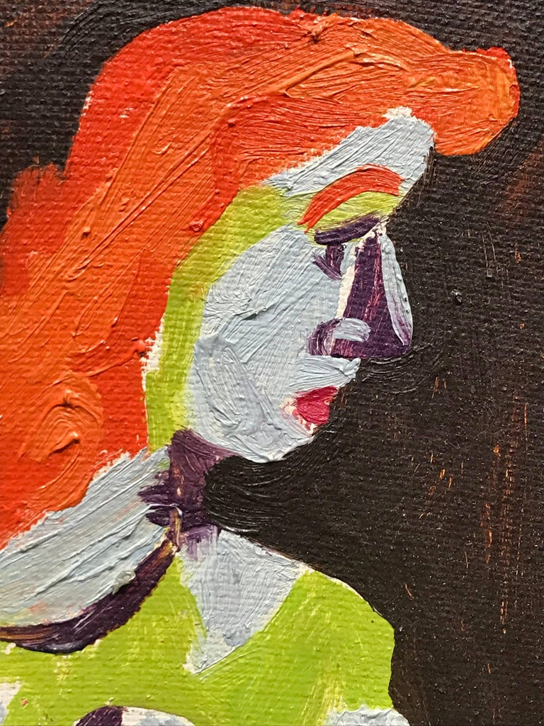 American Modernist Painting by Edgar Levy, Red Head, 1943 For Sale 4