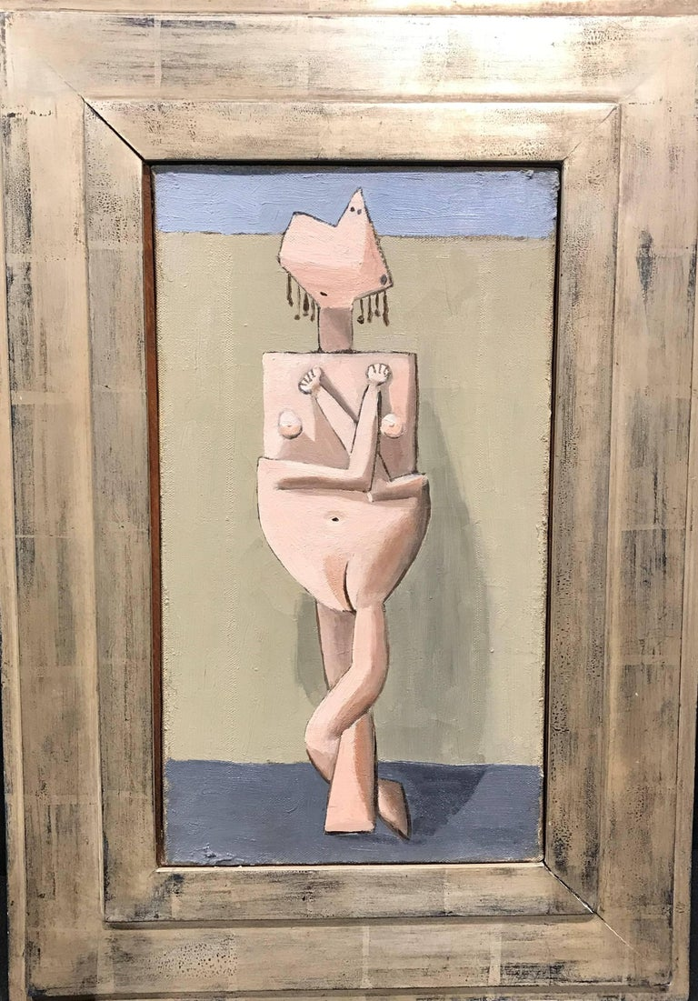 American Modernist Painting by Edgar Levy, Cubist Figure, c. 1932-1935 For Sale 1